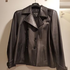 women leather double breasted jacket